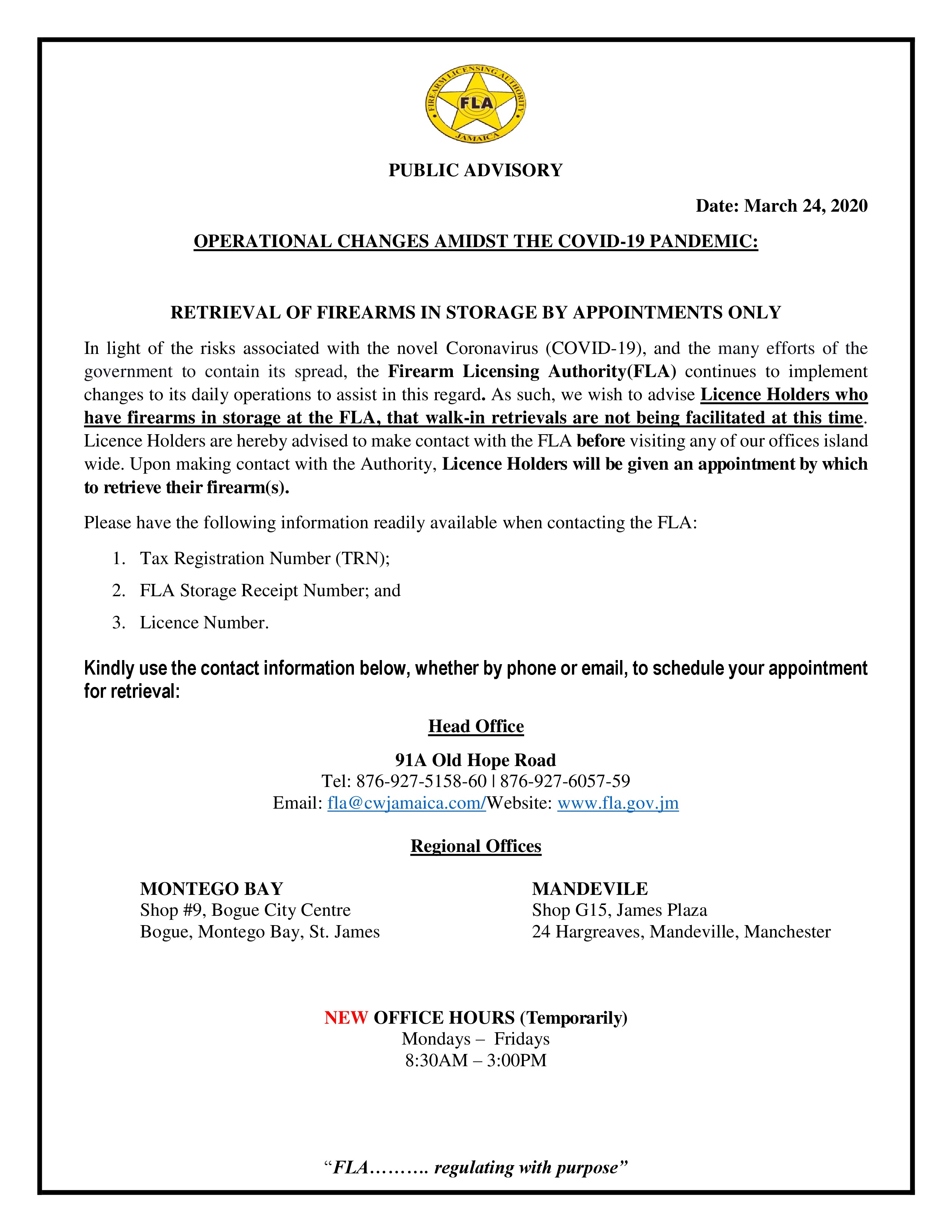 PUBLIC NOTICE Retrieval of Firearms in Storage FINAL page 0